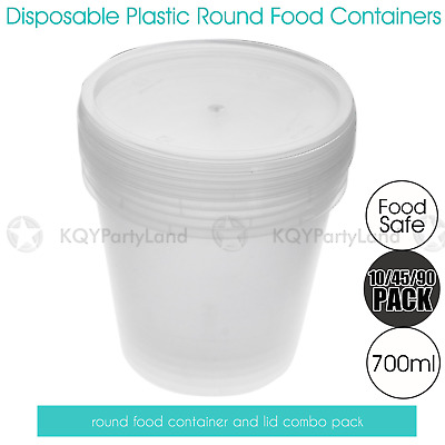 Take Away Round Plastic Food Container w/Lids 700ml Disposable Meal Prep Storage