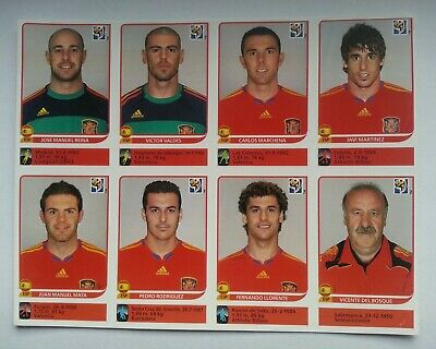 Panini WC South Africa 2010 extra update sheet 8 SPAIN stickers - copy set Rare