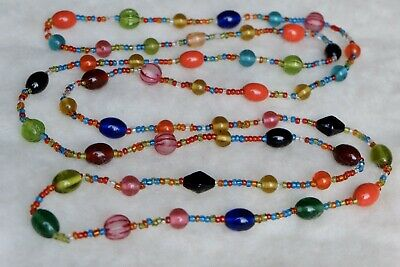 "Vintage Long 56"" Art Deco Style Colourful  Czech Glass Bead Necklace"