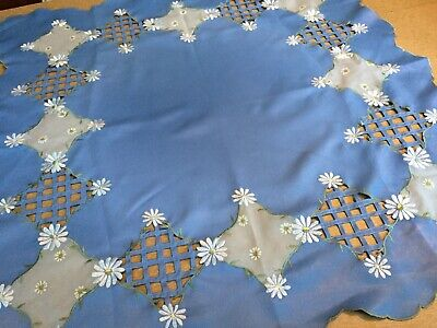 Vintage Small Open Cutwork  French Blue Tablecloth w/ Embroidered Daisies.