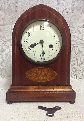 Antique Early Gustav Becker Lancet Mahogany Inlaid Mantel Clock, Working. German
