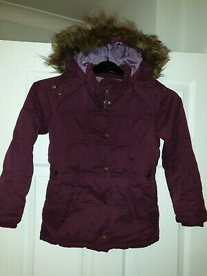 FAT FACE Girls Winter Coat jacket hooded age 8/9 Years FATFACE fatface plumb