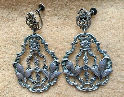 "Antique Georgian Sterling Silver Earrings Chandelier Wedding Girandole 2"" Large"