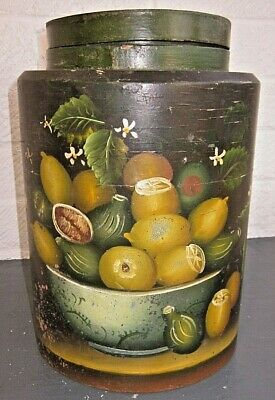 """Very Large old Hand Painted Wooden Jar Lidded 11"""" 28 cm Tall."""