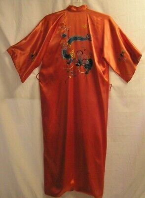 Vintage Korean Lined Robe Embroidered Dragons Size Large
