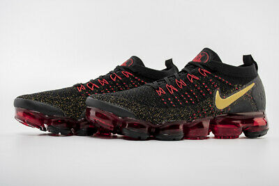 NIKE AIR VaporMax Flyknit 2 Men's Black and Red Running Trainers Shoes