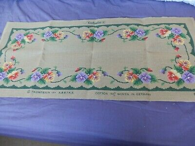 """Large Tapestry Canvas Flowers around edge plain centre  39"""" x 17"""" NO THREADS NEW"""