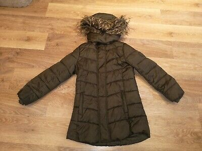 H&M Girls Thick Khaki Green Padded Winter Coat With Fur Hood - Size 9 to 10 Year