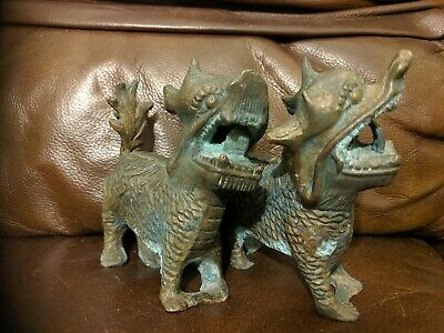 Pair of Antique Oriental cast Bronze Fengshui Lions Fu Foo Dogs Dragons Statues