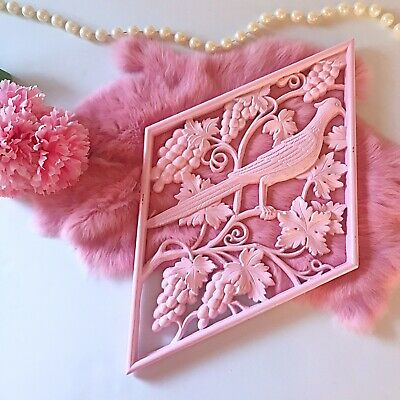 Vintage 1970's Pink Bird Wall Hanging Pastel Kawaii 70's Kitchen Bedroom Retro