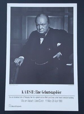 Yousuf Karsh Winston Churchill Poster 1990 Zurich Merrill Lynch