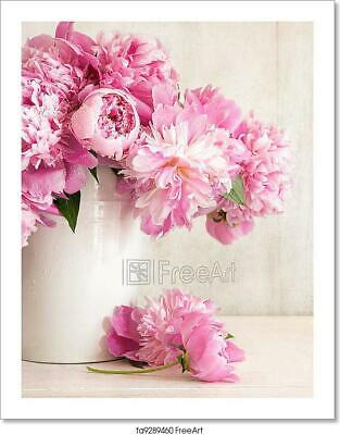 Pink Peonies In Vase  Art/Canvas Print. Poster, Wall Art, Home Decor