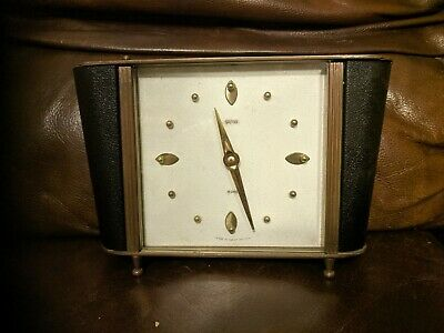 Vintage Smiths 8-Day Floating Balance Mechanical Mantle Clock Brass & Leather