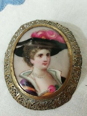 Antique Ceramic Hand Painted Portrait Victorian Lady Filigree Brooch Pin