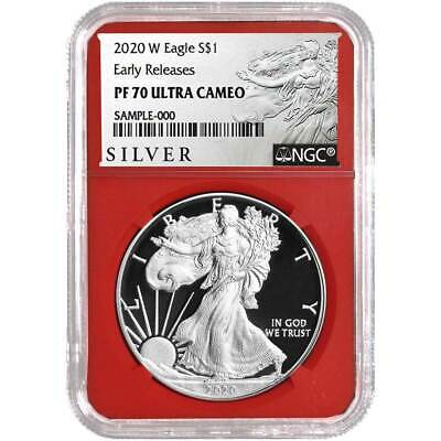 2020-W Proof $1 American Silver Eagle NGC PF70UC ALS ER Label Red Core