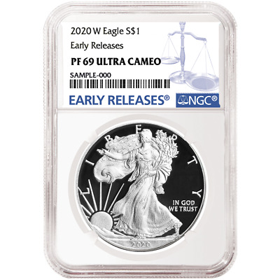 2020-W Proof $1 American Silver Eagle NGC PF69UC Blue ER Label