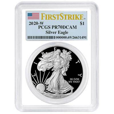 2020-W Proof $1 American Silver Eagle PCGS PR70DCAM First Strike Flag Label Whit