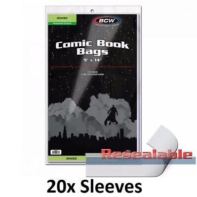 """20 BCW Graded Comic Book Bags Resealable Sleeves 9"""" x 14"""" + 1.5"""" flap CGC CBCS"""