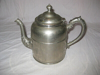 """Antique Nickel Plated Copper Teapot, 8.5"""" Tall, Victorian, Rochester GREAT SHAPE"""