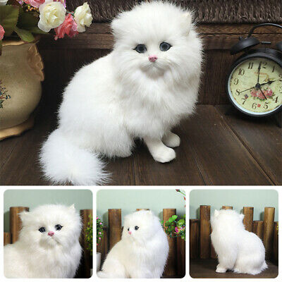 Realistic Cute Simulation Stuffed Plush White Persian Cats Toys Fluffy Cat Dolls