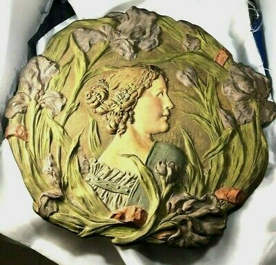 """Ernst Wahliss Austria Art Nouveau Lady 16"""" Art Pottery  Hanging Wall Charger"""