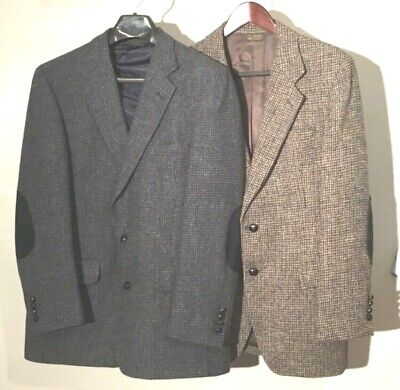 Mens Pair 40R Kuppenheimer Sport Coats Blue/Gray Brown Harris Tweed Two Button