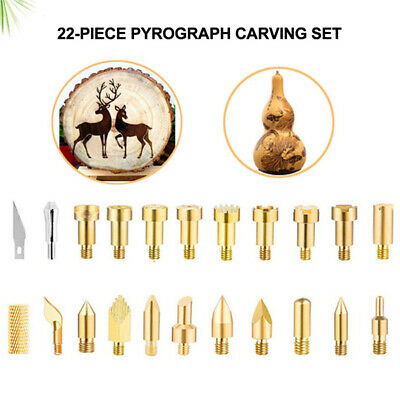 Pyrographic Engraving Head Soldering Tools Leather Cork Punch Carving Work 22Pcs