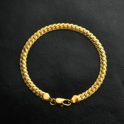 Sparking 18k Yellow Gold Filled Bracelet Chain Curb Charm Jewelry