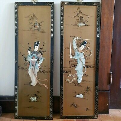 Pair of Oriental Pictures, Vintage Chinese Panels, Wall Hangings.