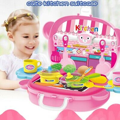 Portable Kids Kitchen Cooking Children Cooker Toy Role Play Pretend boy girl Kit