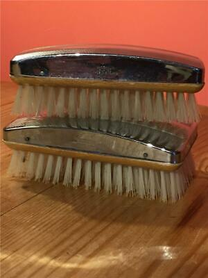 Vintage Art Deco Wood and Machined Chrome Plated Men's Hair Brushes