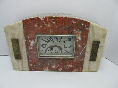 ANTIQUE FRENCH ART DECO MANTLE SHELF CLOCK MARBLE BRONZE Quimperle Treguier