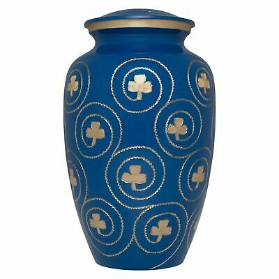 Blue/Gold Clover Irish Cremation Urn Adult - Funeral Urn For Human Ashes
