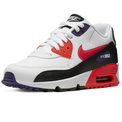 SCARPE NIKE AIR MAX 90 LEATHER GS 833412 100 MODA JUNIOR LIFESTYLE TOTAL WHITE