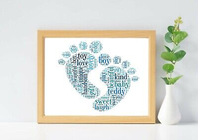 Personalised baby feet picture. Newborn gift word cloud. Baby word art