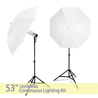 """Studio Continuous Light Stand 53"""" White Umbrella Reflector Lighting Photography"""