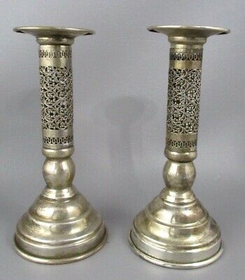 """Pair Ornate SILVER Filigree Hollow CANDLESTICKS Candlestix Unmarked 5-1/2"""" Tall"""