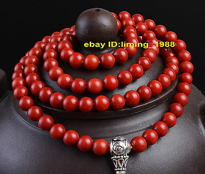 genuine necklace red coral bracelet worry rosary beads mala natural 108 silver