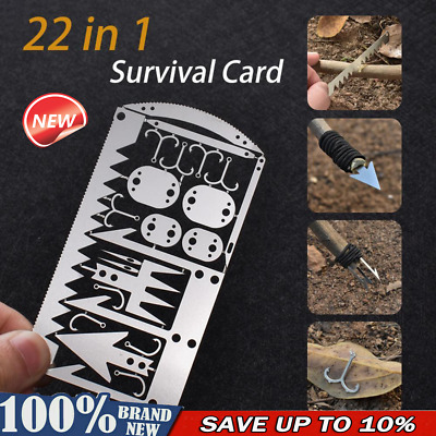 Camping Survival Card Multi-Tool Wilderness Survival Gear Hunting Hiking Kit CA
