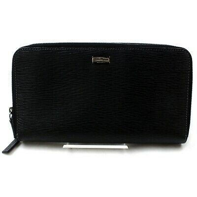 Authentic Salvatore Ferragamo Zippy Wallet  Black Leather 902580