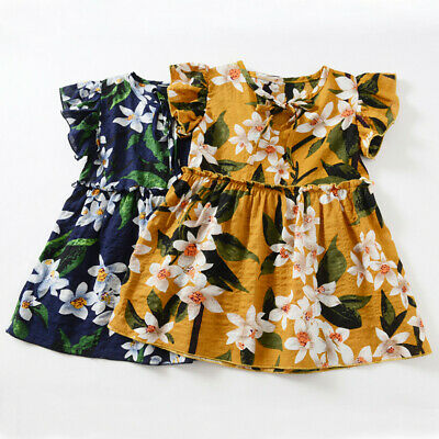 Toddler Baby Kids Dress Girls Fly Sleeve Ribbon Floral Princess Dresses Clothes