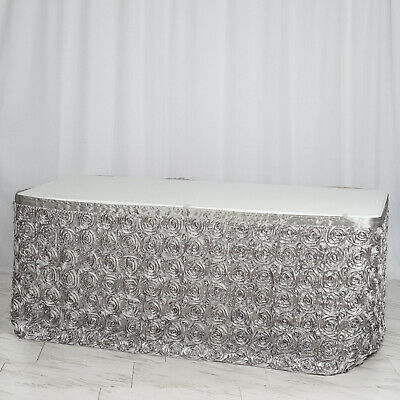 14' Silver SATIN ROSES TABLE SKIRT Tradeshow Wedding Party Catering Supplies