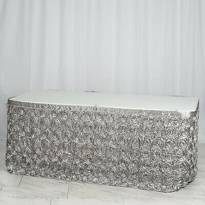 21' Silver SATIN ROSES TABLE SKIRT Tradeshow Wedding Party Catering Supplies