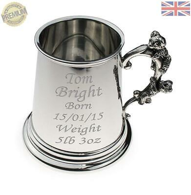 Personalised British Pewter Baby Christening Tankard with Teddy Bear Handle Engraved Gift in Silk Lined Gift Box