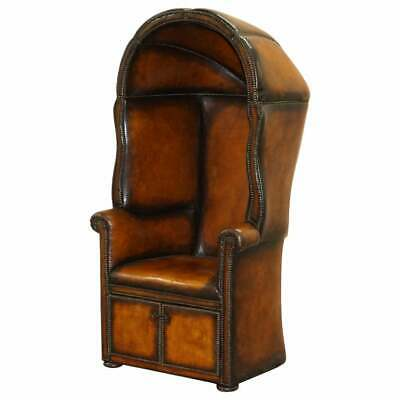 Fine Fully Restored Regency / Victorian Hand Dyed Brown Leather Porters Armchair