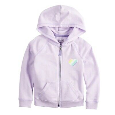Jumping Beans Light Purple Zip Hoodie Jacket with Glitter Heart Girl Size 4 NEW