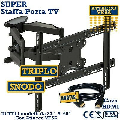"Super Staffa Porta Tv Da Muro  Da 32""42""46""50""55""60""65 Pollici Supporto Parete"