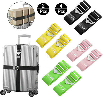 2Pcs Adjustable Elastic Travel Luggage Straps Safety Fixed Suitcase Packing Belt