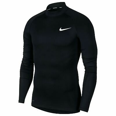 Nike Pro Core Mock Neck Baselayer Shirt Mens Black Football Soccer Compression