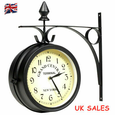 Wall Clock Double Sided 20cm Retro Style Design Grand Central Station